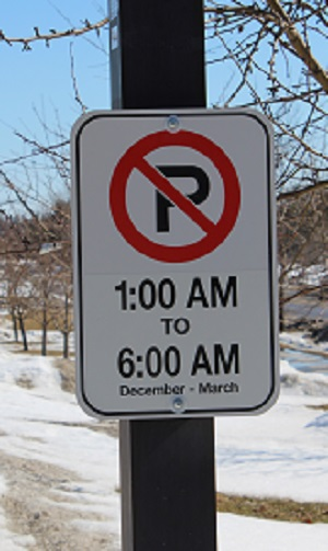 Restricted Overnight Parking Sign